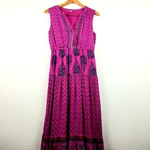 Old Navy MAXI dress M pink boho print ethnic tasse